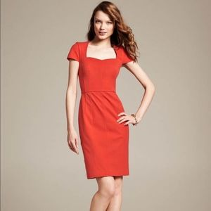 Banana Republic Sloan Sheath Dress 14 Red Square